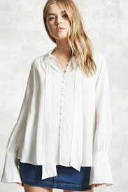 forever 21 white blouse self tie shirt forever 21 2000226209
