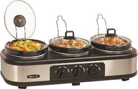 3 Crock Slow Cooker Buffet by Bella 3 X 1 5 Quart Triple Slow Cooker Silver Bla13582 Best Buy