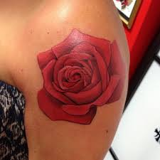 realistic red rose tattoo on front in 2017 real photo pictures