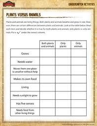 plants versus animals kindergarten science worksheet of