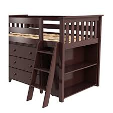 amazon com max u0026 lily solid wood storage loft bed with dresser