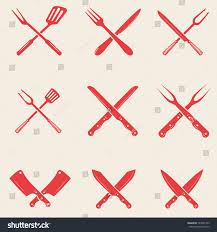Restaurant Kitchen Knives Set Restaurant Knives Icons Crossed Fork Stock Vector 723091453