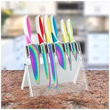 colorful kitchen knives titanium coating kitchen knives set with wood block customized