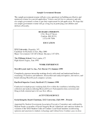 Job Resume For Students by Sample Resume For Government Position Free Resume Example And