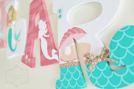 coral and mint mermaid themed personalized wooden letters for