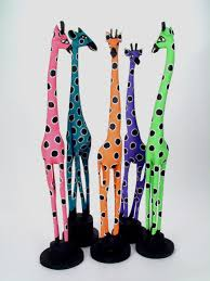 wooden painted wood giraffe handmade wooden sculpture