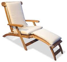Cushions For Outdoor Chaise Lounges Teak Steamer Chair Chaise Lounge With Sunbrella Cushion
