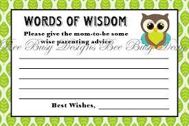 printable woodland blue green owl baby shower word of wisdom