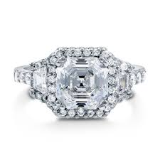 deco engagement ring sterling silver asscher cubic zirconia cz halo deco engagement