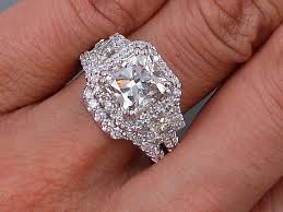 Diamond Wedding Ring Sets by 4 06 Ctw Cushion Cut Diamond Wedding Ring Set I Si1 Includes A