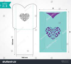 a6 invitation envelopes pocket envelope template die cut heart stock vector 360934847
