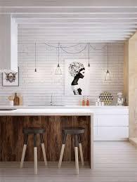 cuisine contemporaine blanche et bois cuisine contemporaine mélange de bois blanc et brique kitchens