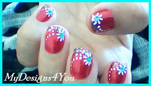 floral nail art for short nails red nails design youtube