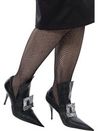 halloween witch shoe covers with silver buckle fancy dress l 16 18
