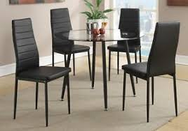 Chairs With Metal Legs Set Of 4 Retro Dining Chairs W Faux Leather Black Metal Legs 4
