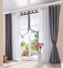 Curtains White And Grey Morden Embroidered Cotton Balcony Window Tulle Curtains Grey White
