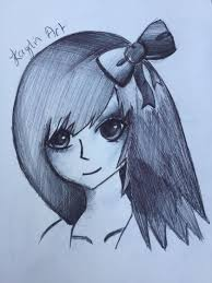 anime with a bow in her hair original art by kaylinart