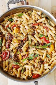 recipes with pasta pasta bell peppers and asparagus in a creamy sun dried tomato