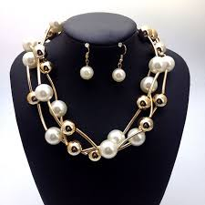 aliexpress pearl necklace images Fashion jewelry sets white pearl necklace earrings women gold jpg