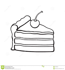 doodle of a piece of cake with cream and cherry stock vector