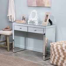 Glass Vanity Table With Mirror Mirrored Vanity Table Glass Furniture Writing Desk Two Drawers