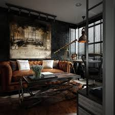 Loft Living Room by Three Dark Colored Loft Apartments With Exposed Brick Walls