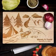 cutting board wedding gift personalized cutting board wedding gift canoe cing wedding c