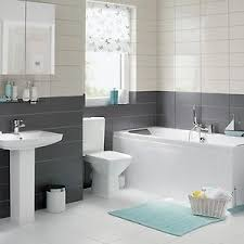 homebase bathroom ideas a white unit bathroom with grey and white tiles and blue