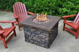 Propane Fire Pit Sets With Chairs Tortuga Outdoor Yosemite Faux Wood Stone Propane Fire Pit Table