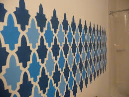 wall paint stencils moroccan with simple design with blue and dark