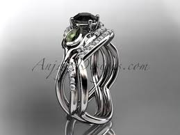 black diamond wedding sets black diamond engagement sets weeding rings leaf vine rings