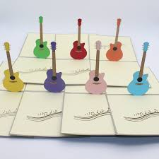 10 pieces lot 3d pop up laser cut paper cards multicolor guitar