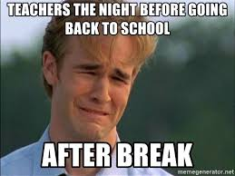 Teacher Back To School Meme - teachers the night before going back to school after break