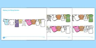 washing line missing number to 20 activity sheets numbers