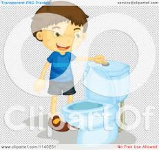 cartoon of a happy brunette boy flushing a toilet royalty free