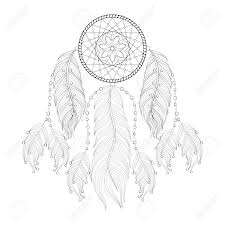 hand drawn dream catcher with mehendi mandala for coloring