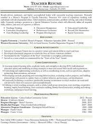 Sample Teacher Resume Templates by Teacher Resume Format