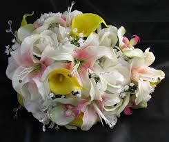 silk bridal bouquets cascade bouquets debbiecoflowers silk wedding bouquets