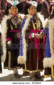 ladakh clothing a women in traditional dress at leh jammu kashmir india stock