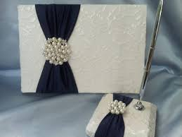 ivory wedding guest book navy ivory lace wedding guest book and pen set ivory bridal lace