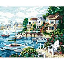 online get cheap acrylic paint wall mural aliexpress com diy painting by numbers kits unframed sea beach houses scenery canvas art wall mural prints with acrylic paint and brushes