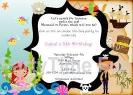 customized pirate and mermaid birthday invitations mermaid birthday