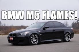 bmw m5 v10 shooting flames launch exhaust youtube