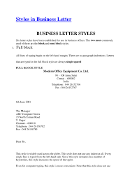Business Letters Sample by Styles In Business Letter