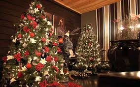 christmas decorating christmas trees with berries tree ribbon