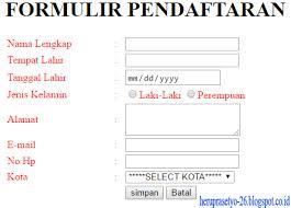 membuat form input menggunakan html cara membuat form pendaftaran menggunakan html heru prasetyo