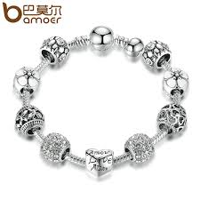 bracelet charm crystal images Bamoer antique silver charm bracelet bangle with love and flower jpg