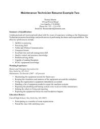 maintenance technician resume industrial maintenance technician resume exles mechanic