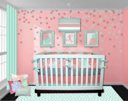 Navy And Coral Baby Bedding Sailor Crib Bedding Coral Navy Mint Green Pink