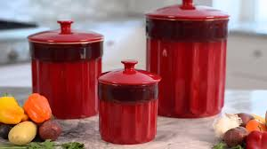 Red Kitchen Canister Set   luxury red storage jars for kitchen suzannelawsondesign com